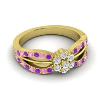 Simple Floral Pave Kalikda Diamond Ring with Pink Tourmaline and Amethyst in 14k Yellow Gold
