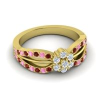 Simple Floral Pave Kalikda Diamond Ring with Pink Tourmaline and Garnet in 14k Yellow Gold