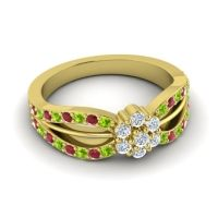 Simple Floral Pave Kalikda Diamond Ring with Ruby and Peridot in 14k Yellow Gold
