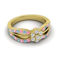 Simple Floral Pave Kalikda Diamond Ring with Swiss Blue Topaz and Pink Tourmaline in 18k Yellow Gold