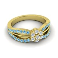 Simple Floral Pave Kalikda Diamond Ring with Swiss Blue Topaz in 18k Yellow Gold