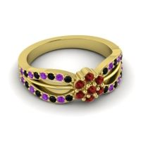 Simple Floral Pave Kalikda Garnet Ring with Amethyst and Black Onyx in 14k Yellow Gold