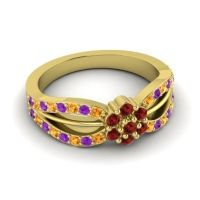 Simple Floral Pave Kalikda Garnet Ring with Amethyst and Citrine in 14k Yellow Gold