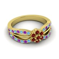 Simple Floral Pave Kalikda Garnet Ring with Amethyst and Swiss Blue Topaz in 14k Yellow Gold