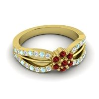 Simple Floral Pave Kalikda Garnet Ring with Aquamarine and Diamond in 18k Yellow Gold