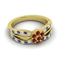 Simple Floral Pave Kalikda Garnet Ring with Blue Sapphire and Diamond in 18k Yellow Gold