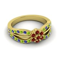 Simple Floral Pave Kalikda Garnet Ring with Blue Sapphire and Peridot in 18k Yellow Gold