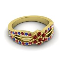 Simple Floral Pave Kalikda Garnet Ring with Blue Sapphire and Ruby in 14k Yellow Gold