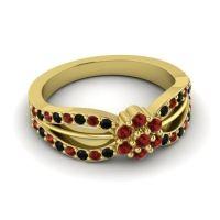 Simple Floral Pave Kalikda Garnet Ring with Black Onyx in 14k Yellow Gold