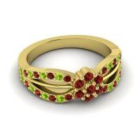 Simple Floral Pave Kalikda Garnet Ring with Peridot in 18k Yellow Gold