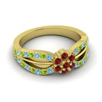 Simple Floral Pave Kalikda Garnet Ring with Peridot and Swiss Blue Topaz in 18k Yellow Gold