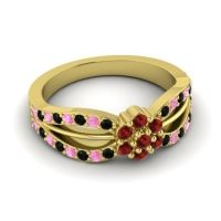 Simple Floral Pave Kalikda Garnet Ring with Pink Tourmaline and Black Onyx in 14k Yellow Gold