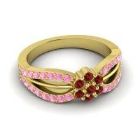 Simple Floral Pave Kalikda Garnet Ring with Pink Tourmaline in 14k Yellow Gold