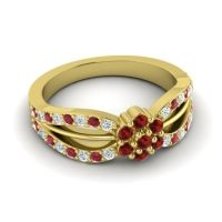 Simple Floral Pave Kalikda Garnet Ring with Ruby and Diamond in 14k Yellow Gold