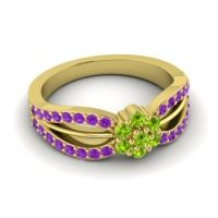 Simple Floral Pave Kalikda Peridot Ring with Amethyst in 14k Yellow Gold