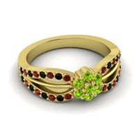 Simple Floral Pave Kalikda Peridot Ring with Black Onyx and Garnet in 14k Yellow Gold