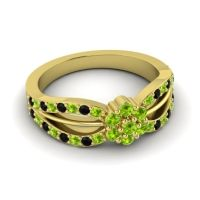 Simple Floral Pave Kalikda Peridot Ring with Black Onyx in 18k Yellow Gold