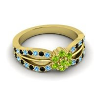 Simple Floral Pave Kalikda Peridot Ring with Black Onyx and Swiss Blue Topaz in 18k Yellow Gold
