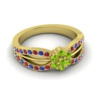 Simple Floral Pave Kalikda Peridot Ring with Blue Sapphire and Ruby in 14k Yellow Gold