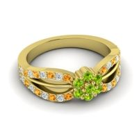 Simple Floral Pave Kalikda Peridot Ring with Diamond and Citrine in 18k Yellow Gold