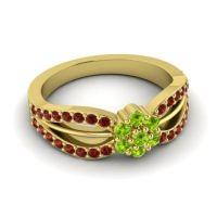 Simple Floral Pave Kalikda Peridot Ring with Garnet in 18k Yellow Gold