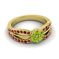 Simple Floral Pave Kalikda Peridot Ring with Garnet and Ruby in 18k Yellow Gold