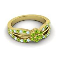 Simple Floral Pave Kalikda Peridot Ring with Aquamarine in 18k Yellow Gold