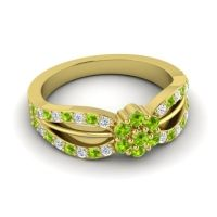 Simple Floral Pave Kalikda Peridot Ring with Diamond in 18k Yellow Gold
