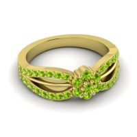 Simple Floral Pave Kalikda Peridot Ring in 18k Yellow Gold