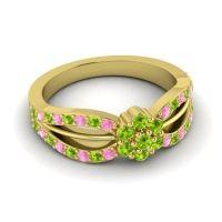 Simple Floral Pave Kalikda Peridot Ring with Pink Tourmaline in 18k Yellow Gold