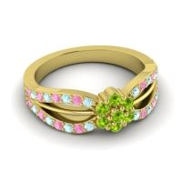 Simple Floral Pave Kalikda Peridot Ring with Pink Tourmaline and Aquamarine in 14k Yellow Gold