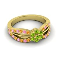 Simple Floral Pave Kalikda Peridot Ring with Pink Tourmaline and Citrine in 14k Yellow Gold