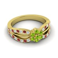 Simple Floral Pave Kalikda Peridot Ring with Ruby and Diamond in 18k Yellow Gold