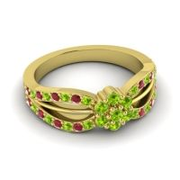 Simple Floral Pave Kalikda Peridot Ring with Ruby in 18k Yellow Gold