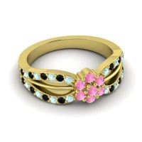 Simple Floral Pave Kalikda Pink Tourmaline Ring with Black Onyx and Aquamarine in 14k Yellow Gold