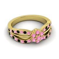 Simple Floral Pave Kalikda Pink Tourmaline Ring with Black Onyx in 14k Yellow Gold
