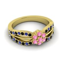 Simple Floral Pave Kalikda Pink Tourmaline Ring with Blue Sapphire and Black Onyx in 18k Yellow Gold