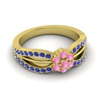 Simple Floral Pave Kalikda Pink Tourmaline Ring with Blue Sapphire in 14k Yellow Gold