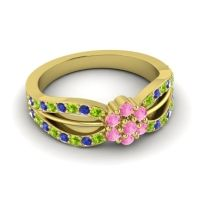 Simple Floral Pave Kalikda Pink Tourmaline Ring with Blue Sapphire and Peridot in 14k Yellow Gold