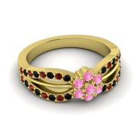 Simple Floral Pave Kalikda Pink Tourmaline Ring with Garnet and Black Onyx in 18k Yellow Gold