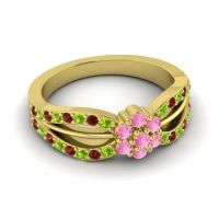 Simple Floral Pave Kalikda Pink Tourmaline Ring with Garnet and Peridot in 14k Yellow Gold