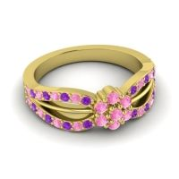 Simple Floral Pave Kalikda Pink Tourmaline Ring with Amethyst in 14k Yellow Gold