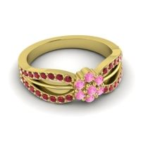 Simple Floral Pave Kalikda Pink Tourmaline Ring with Ruby in 18k Yellow Gold