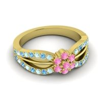 Simple Floral Pave Kalikda Pink Tourmaline Ring with Swiss Blue Topaz and Aquamarine in 14k Yellow Gold