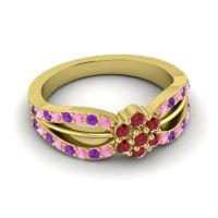 Simple Floral Pave Kalikda Ruby Ring with Amethyst and Pink Tourmaline in 14k Yellow Gold