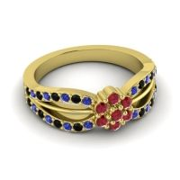 Simple Floral Pave Kalikda Ruby Ring with Black Onyx and Blue Sapphire in 14k Yellow Gold