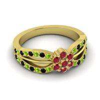 Simple Floral Pave Kalikda Ruby Ring with Black Onyx and Peridot in 14k Yellow Gold