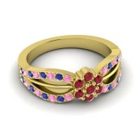 Simple Floral Pave Kalikda Ruby Ring with Blue Sapphire and Pink Tourmaline in 14k Yellow Gold