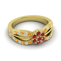Simple Floral Pave Kalikda Ruby Ring with Diamond and Citrine in 18k Yellow Gold