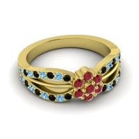 Simple Floral Pave Kalikda Ruby Ring with Swiss Blue Topaz and Black Onyx in 14k Yellow Gold
